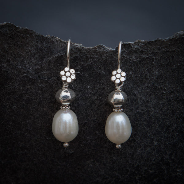 White Freshwater Pearl and Sterling Silver Drop Earrings - Beyond Biasa