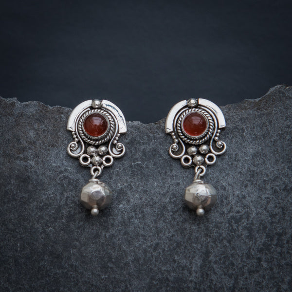 Carnelian and Sterling Silver Detail Stud Earrings with Geometric Bead - Beyond Biasa