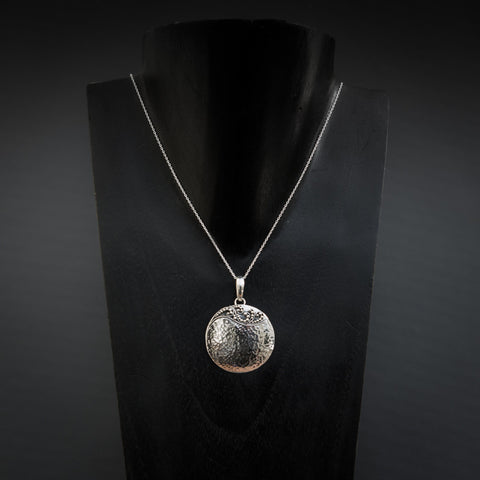 Hammered Sterling Silver Pendant and Chain - Beyond Biasa