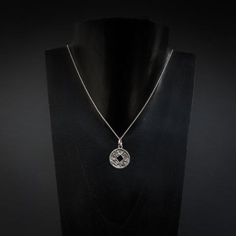 Sterling Silver I Ching Coin Pendant and Chain - Beyond Biasa