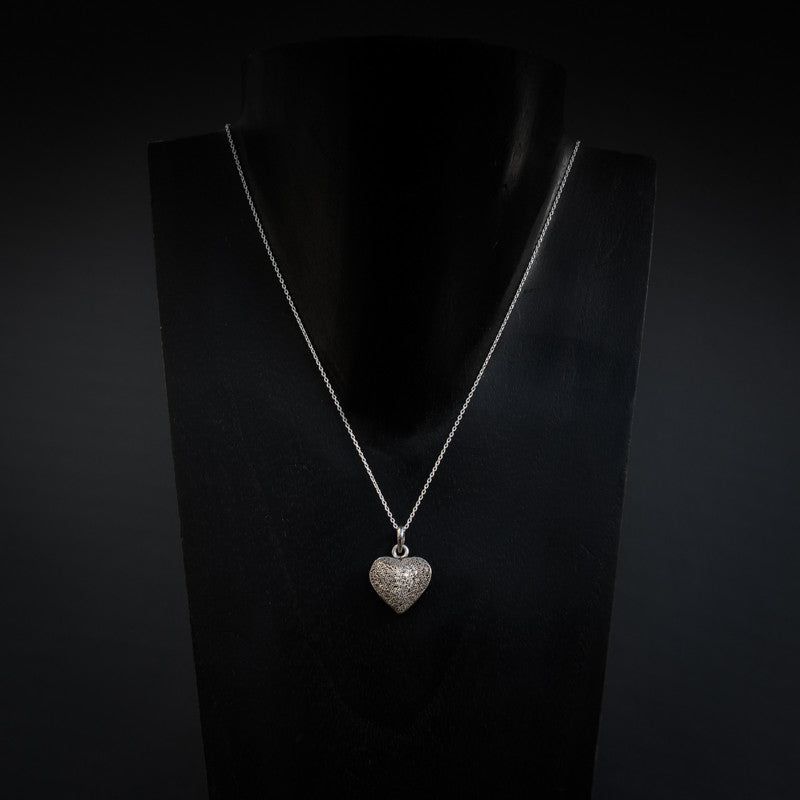 Sterling Silver Granulation Heart Pendant and Chain - Beyond Biasa