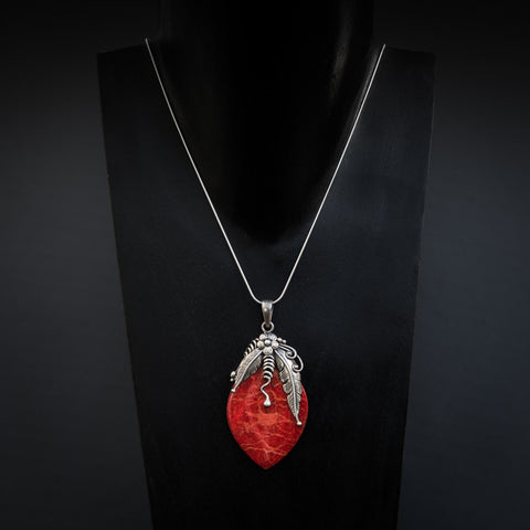 Bamboo Coral and Sterling Silver Detail Pendant - Beyond Biasa