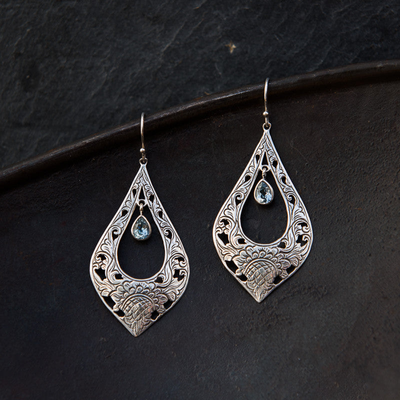 Blue Topaz and Sterling Silver Filigree Earrings - Beyond Biasa