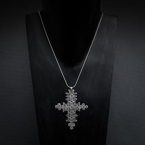Sterling Silver Ethiopian Cross Pendant and Chain - Beyond Biasa