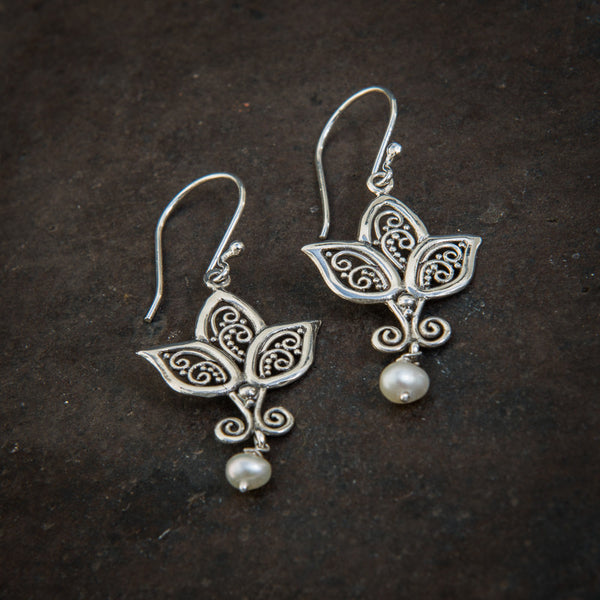 Lotus Flower Sterling Silver and Freshwater Pearl Earrings - Beyond Biasa