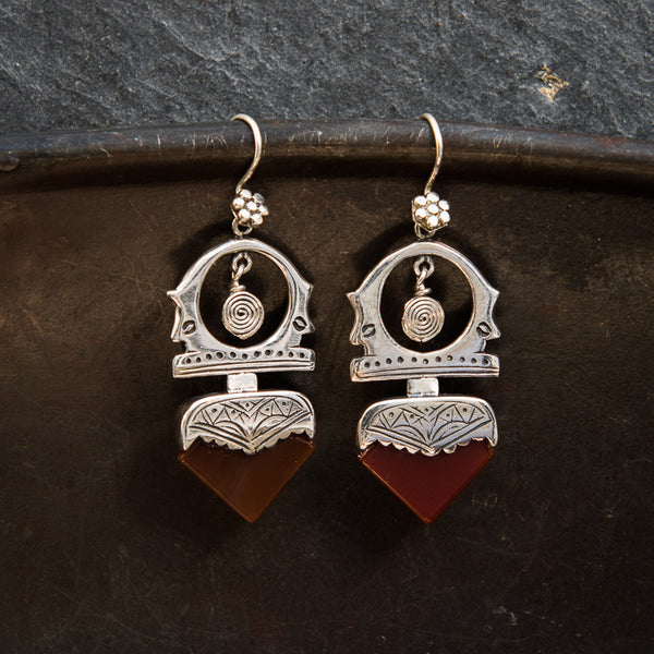Sterling Silver and Carnelian 'Tuareg' Earrings - Beyond Biasa