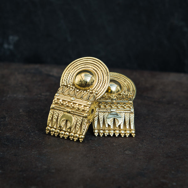 Gold Vermeil South Indian Bead Stud Earrings - Beyond Biasa
