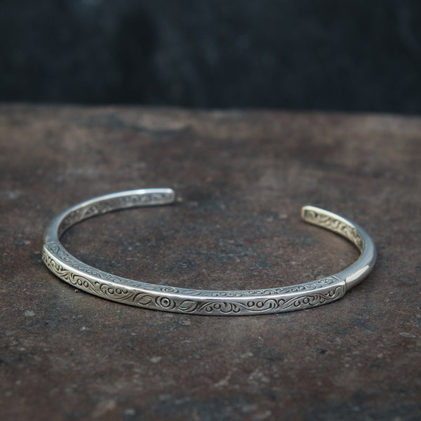 Engraved Sterling Silver Cuff Bangle - Beyond Biasa