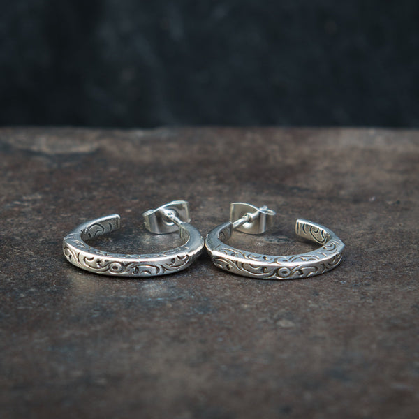 Sterling Silver Engraved Hoop Earrings - Beyond Biasa