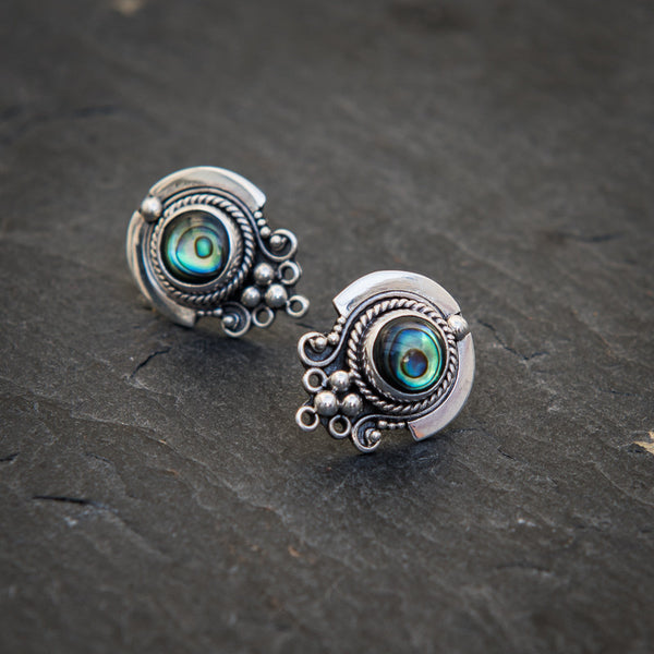 Abalone and Sterling Silver Detail Stud Earrings - Beyond Biasa
