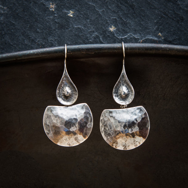 Sterling Silver Hammered Drop Earrings - Beyond Biasa
