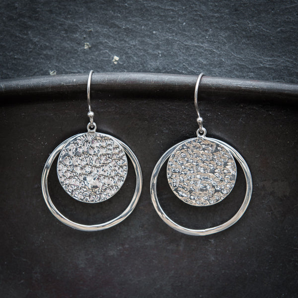 Sterling Silver Hammered Disc Earrings - Beyond Biasa