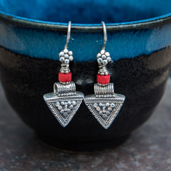 Sterling Silver and Coral Triangle Earrings - Beyond Biasa - 1