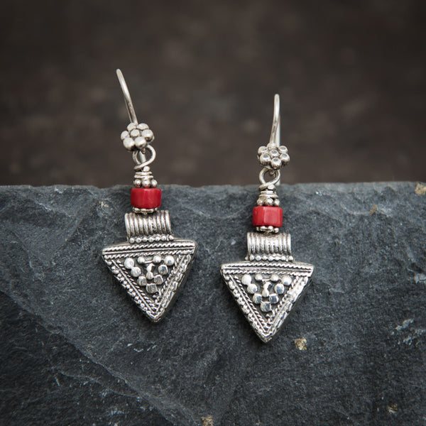 Sterling Silver and Coral Triangle Earrings - Beyond Biasa