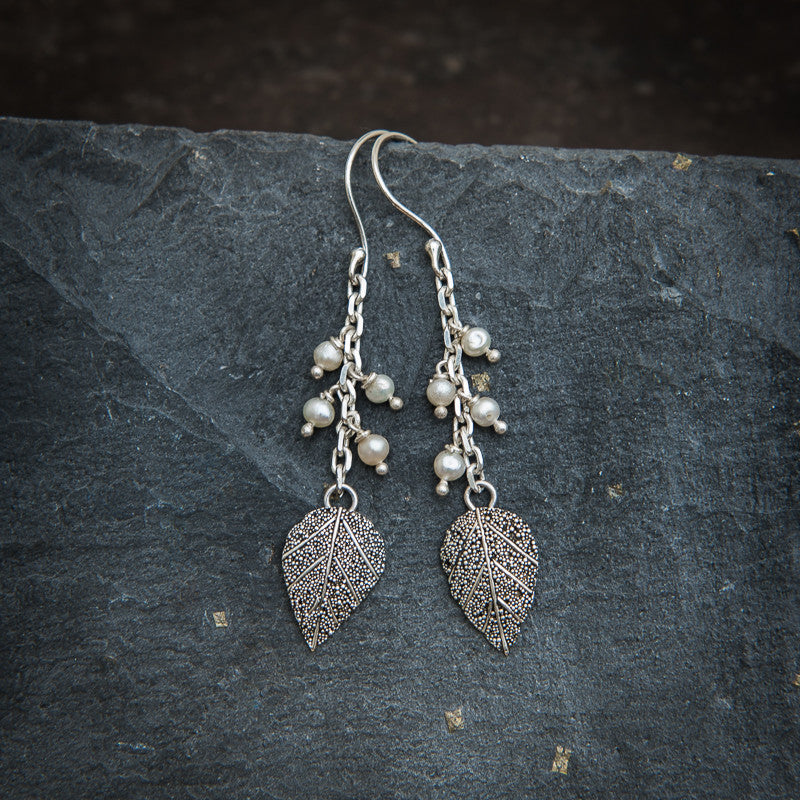Sterling Silver and Freshwater Pearl Granulation Leaf Earrings - Beyond Biasa