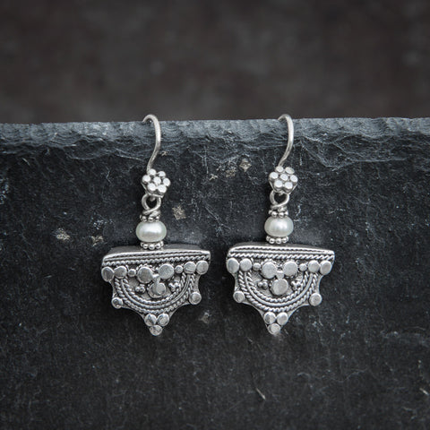 Sterling Silver Telsum Earrings with Freshwater Pearl - Beyond Biasa