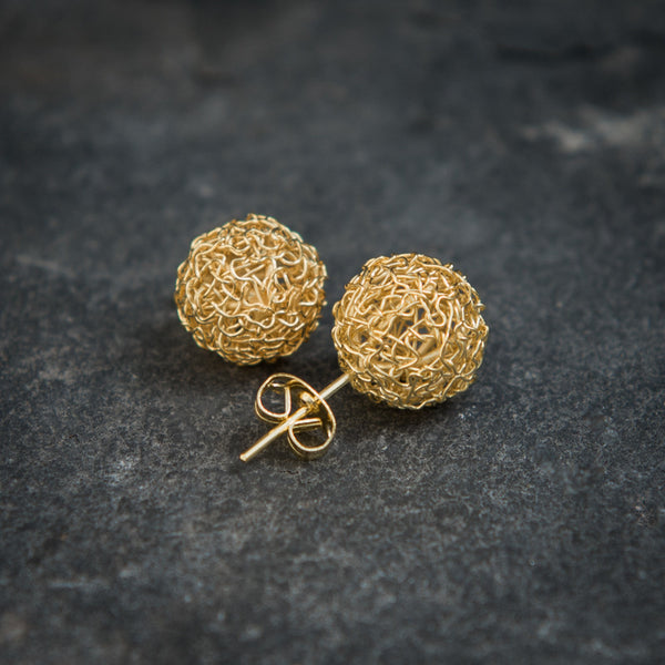 Spherical Lattice Work Gold Vermeil Stud Earrings - Beyond Biasa