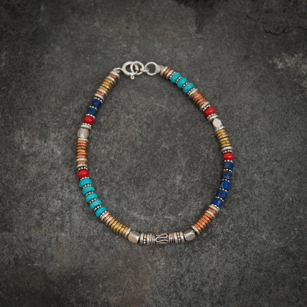 Turquoise, Lapis Lazuli and Coral Bracelet with Sterling Silver Copper and Brass - Beyond Biasa