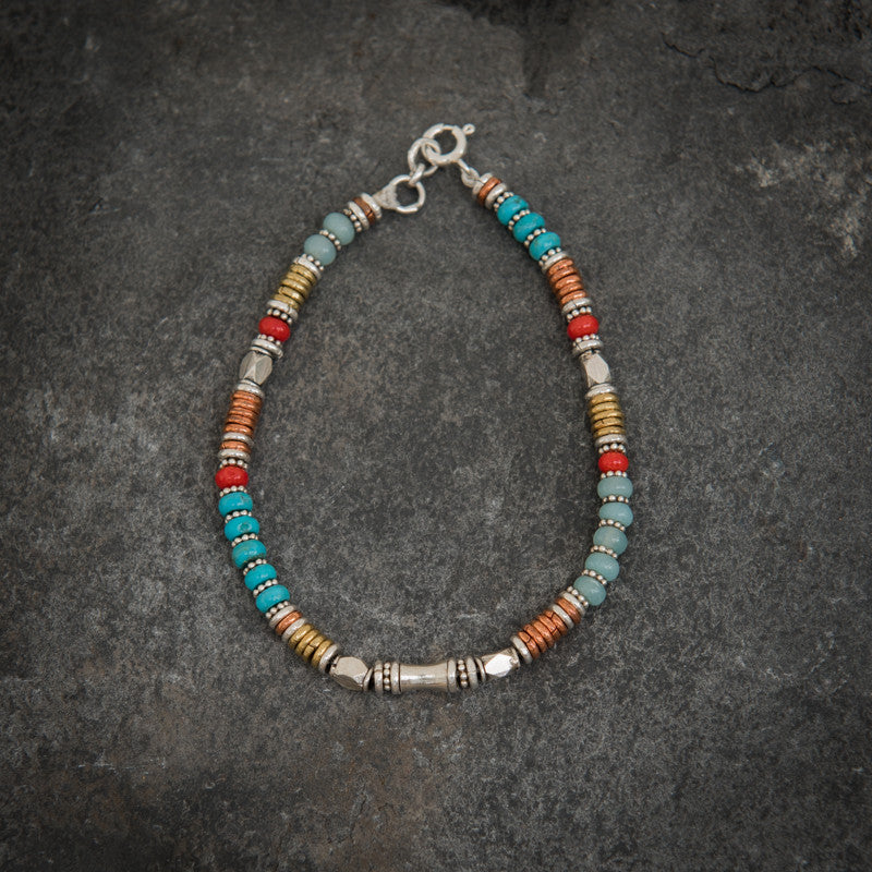 Turquoise, Amazonite and Coral Bracelet with Sterling Silver Copper and Brass - Beyond Biasa