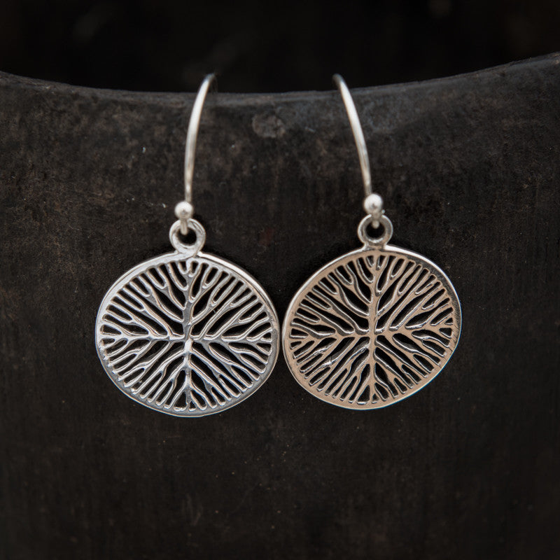 Circular Organic Branch Sterling Silver Drop Earrings - Beyond Biasa