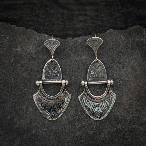 Engraved Sterling Silver 'Tuareg' Earrings - Beyond Biasa