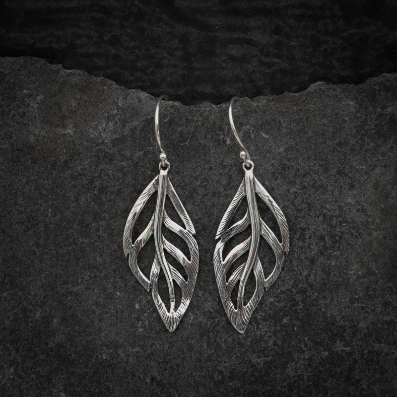 Sterling Silver Leaf Drop Earrings - Beyond Biasa