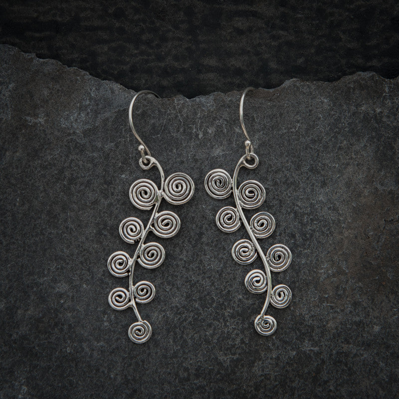 Abstract Spiral Sterling Silver Drop Earrings - Beyond Biasa
