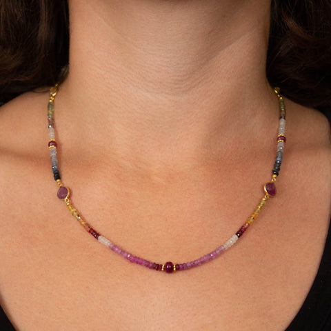 "Sapphire, Ruby and Gold Vermeil 18"" Necklace"