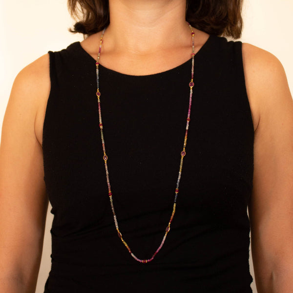 Long Multi Sapphire and Gold Vermeil Necklace