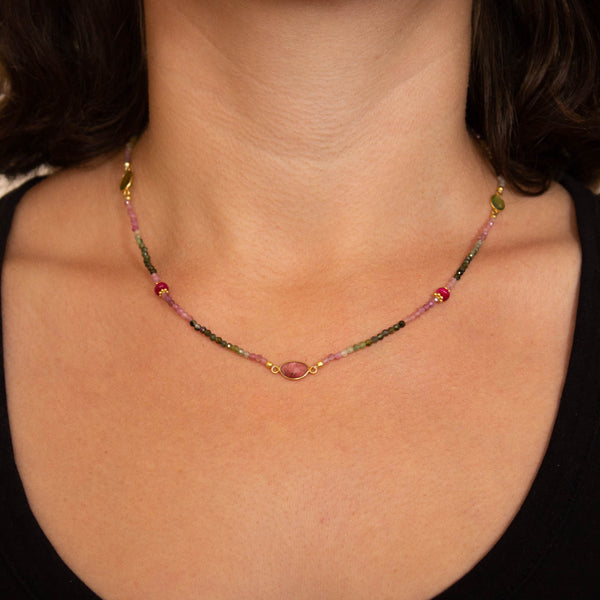 Tourmaline, Ruby and Gold Vermeil Necklace