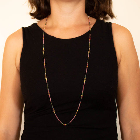 Long Tourmaline, Ruby and Gold Vermeil Necklace