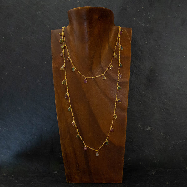 Carved Tourmaline and Gold Vermeil Long Necklace