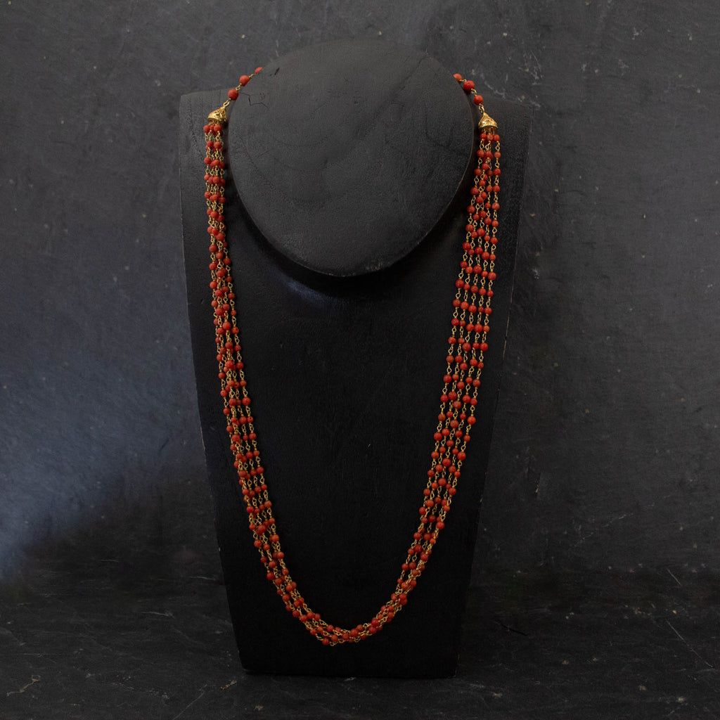 Red Coral and Gold Vermeil Five Strand Necklace