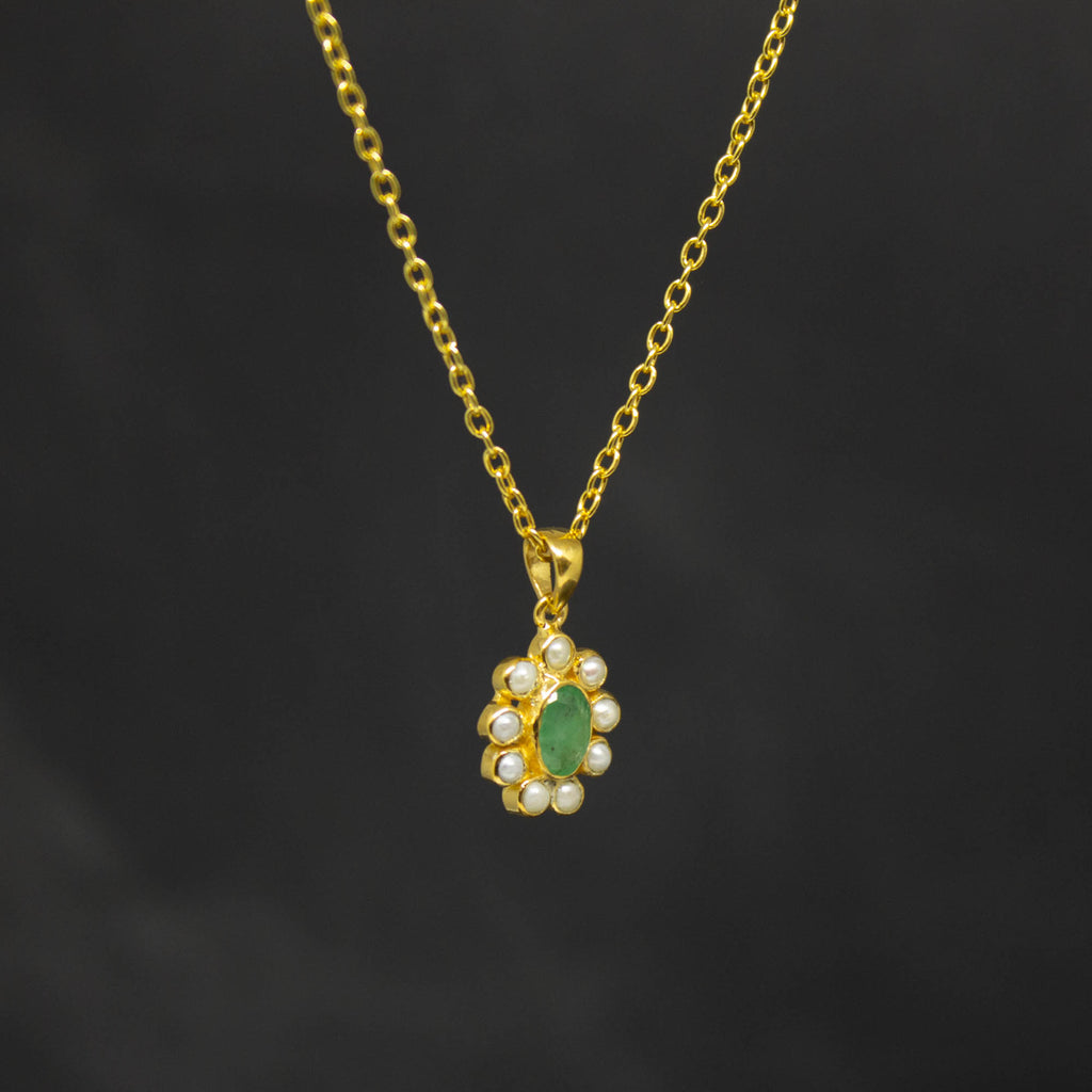 Emerald, Freshwater Pearl and Gold Vermeil Pendant