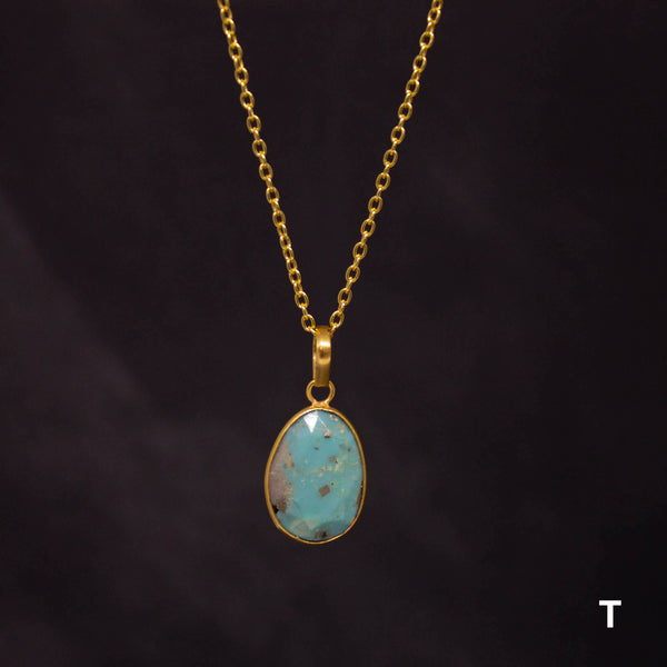 Turquoise and Gold Vermeil Pendant Necklace