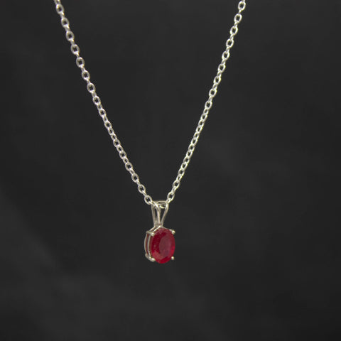 Faceted Ruby and Silver Pendant