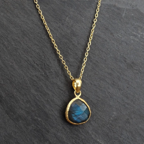 Teardrop Labradorite and Textured Gold Vermeil Pendant