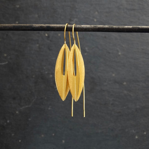 Concertina Earrings in Matt Gold Vermeil - Beyond Biasa