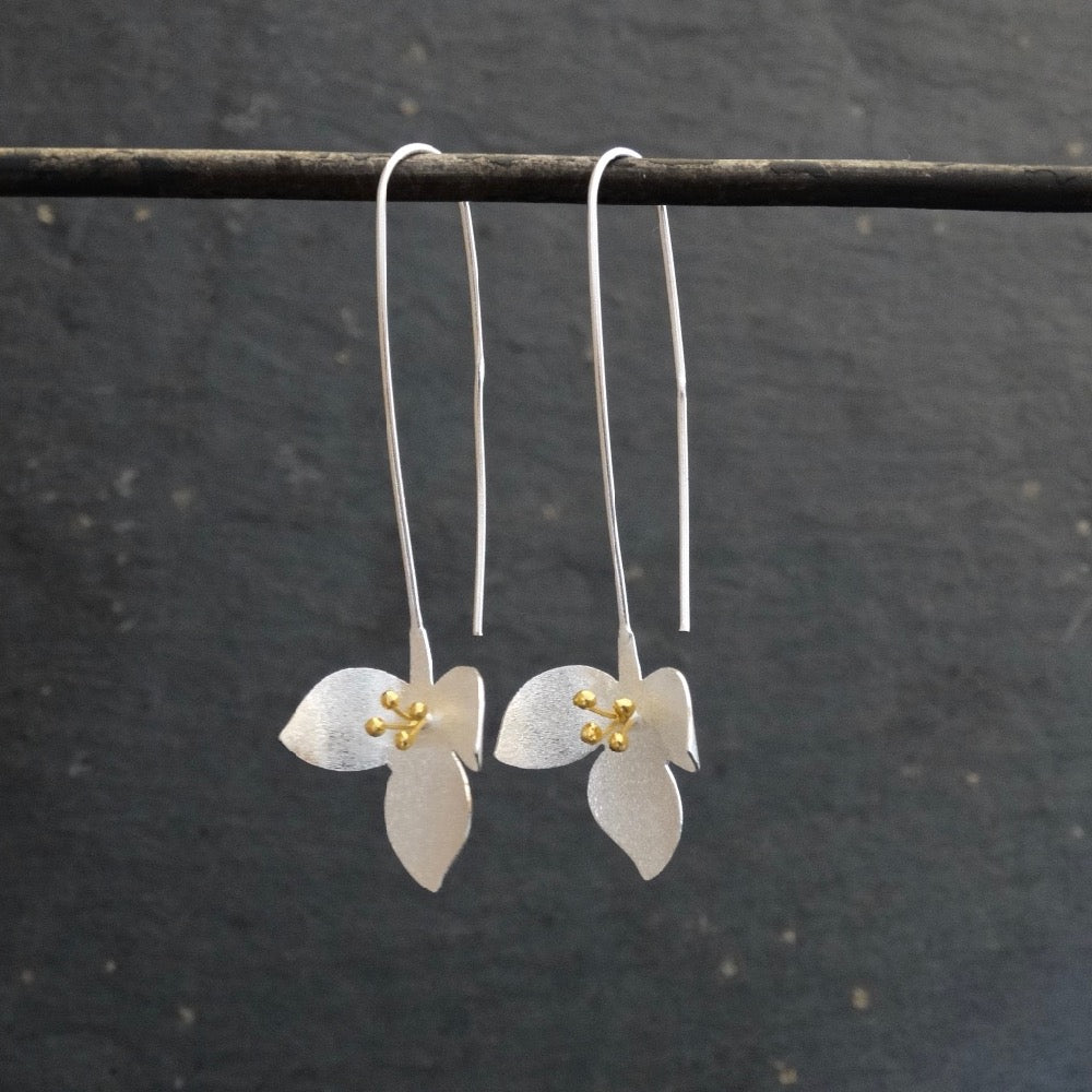 Long Floral Earrings in Brushed Silver and Gold Vermeil - Beyond Biasa