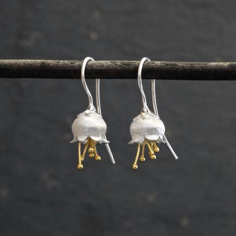 Bluebell Earrings in Brushed Silver and Gold Vermeil - Beyond Biasa