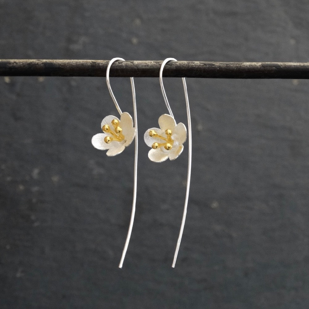 Buttercup Earrings in Brushed Silver and Gold Vermeil - Beyond Biasa