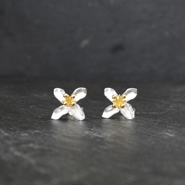Brushed Silver and Gold Vermeil Flower Stud Earrings - Beyond Biasa