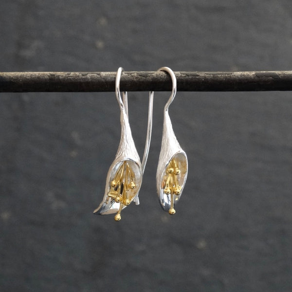 Silver and Gold Flower Flute Earrings - Beyond Biasa