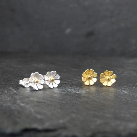 Petite Flower Stud Earrings in Brushed Silver and Gold Vermeil - Beyond Biasa