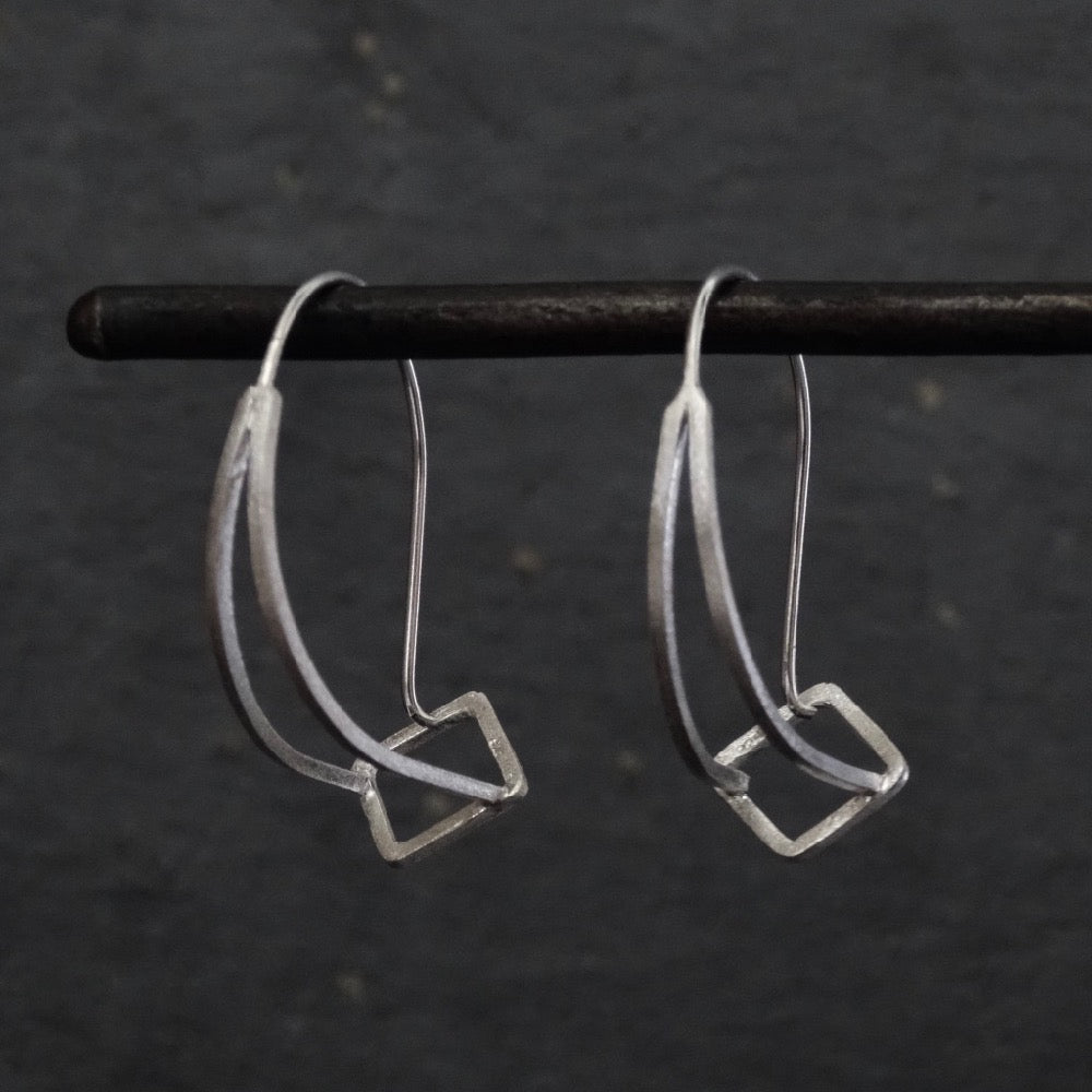 Brushed Sterling Silver Contemporary Hoop Earrings - Beyond Biasa