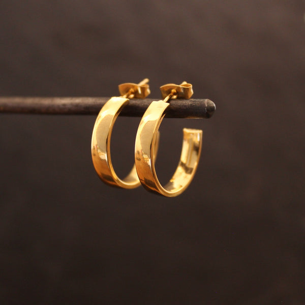 Square Gold Vermeil Stud Hoops