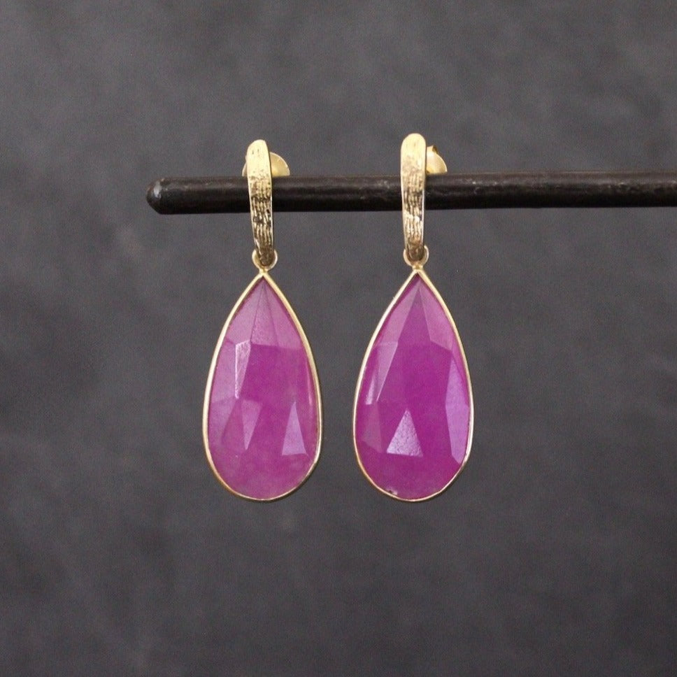Pink Quartz and Textured Gold Vermeil Teardrop Earrings - Beyond Biasa