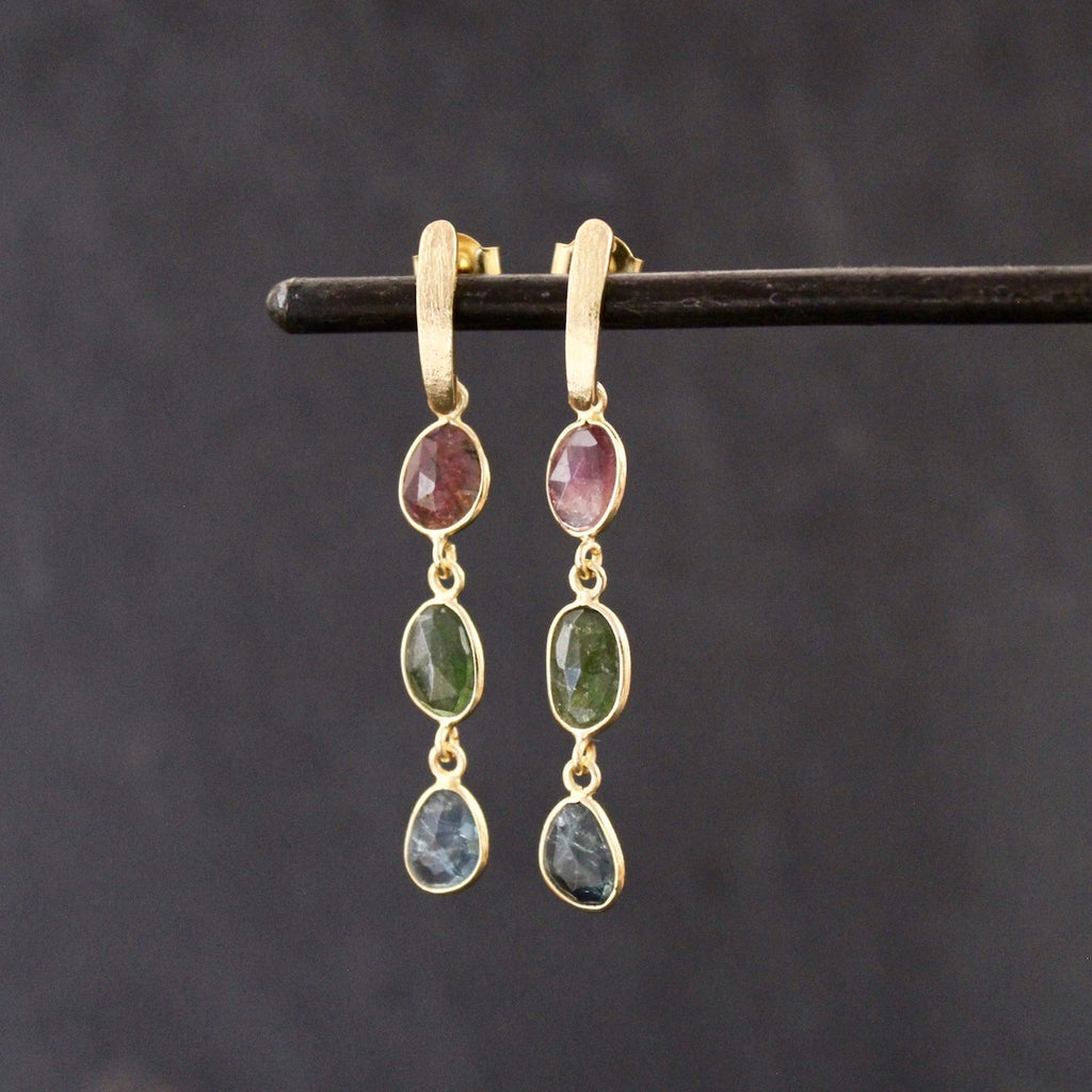 Tourmaline and Brushed Gold Vermeil Triple Drop Earrings - Beyond Biasa