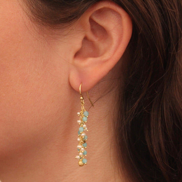 Aqua, Pearl and Gold Vermeil Cluster Earrings