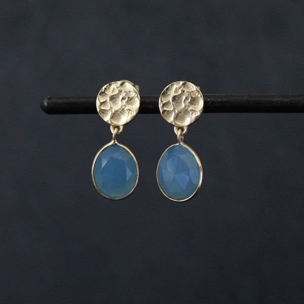 Hammered Gold Disc and Chalcedony Earrings